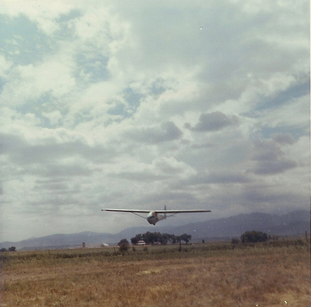 June 1967 - Bill Jr. age 14 coming in for landing on his solo flight in Soaring Society of Boulder's Schweitzer 2-22 at Longmont Municipal Airport, Longmont, CO.