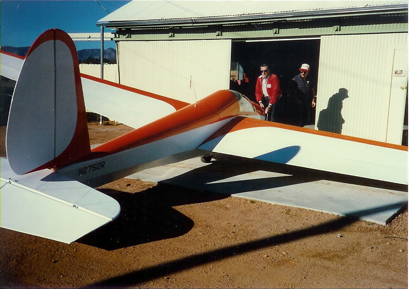 September 28, 1986, Payson Airport, Payson, AZ.  Bill Jr's Schweitzer 1-26B, S/N 221 - N2752R being rolled out of Pete Miller's hanger after a complete recover and new paint.