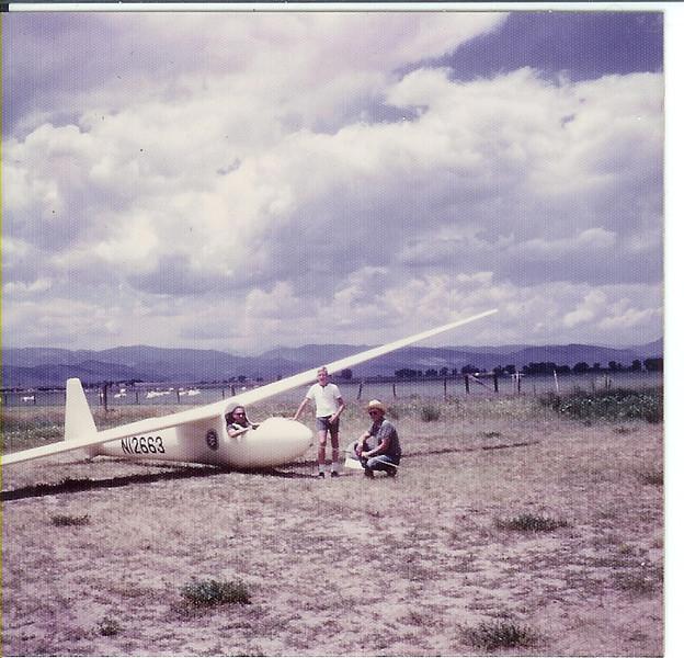 1966 - Schleicher Ka 6 CR, N12663 out at Longmont Community Airport - Longmont, CO. John LeCoq in the cockpit, Bill Prescott Jr and Bill Prescott Sr. next to the ship.