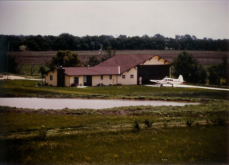 February 1983 - Benton Airpark, Benton Kansas.  Herb Pello's home and attached hanger with his Piper Apache in front.  I received my multi-engine training from Herb Pello, CFI-ME and got my Commecial Multi-Engine rating.