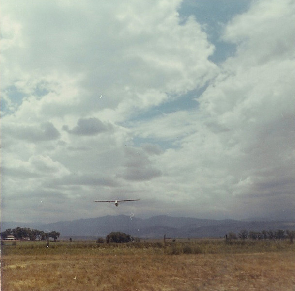 June 1967 - Bill Jr. on final approach after his first solo flight at age 14 - winch launch.  Longmont Municipal Airport, Longmont, CO.