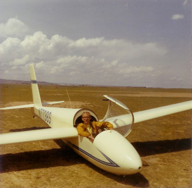 August 13, 1970 - Bill Jr. in Wavery West Schweitzer 1-26E, N7736S getting ready for aero tow from Wavery West Glider Port for 100 Mile Cross country flight.
