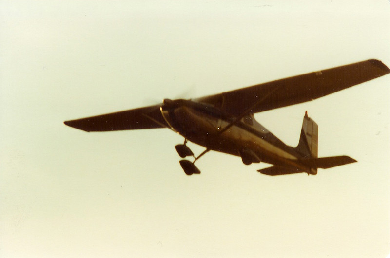 March 1981 - Bill Jr. flying overhead in Prescott's 1957 Cessna 1-72, N8061B
