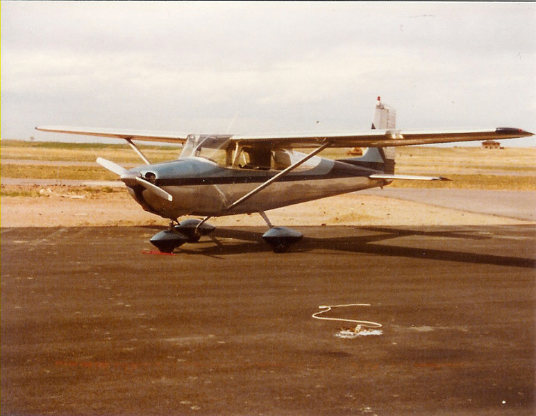 April 1981 - Prescott's 1957 Cessna 1-72, N8061B based at Longmont Municipal Airport.  Bill Jr. soloed and later recevied his private pilots license  in 61B.  A Schweitzer tow hook was installed in place of the tail tie down ring.  Two sailplane tows were done towing SSBs Schweitzer 1-34, N134BC.