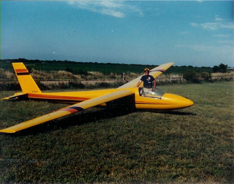 July 1985 - Wichita, KS.  Bill Jr. with Bill Sr's Schweitzer 1-34, N7656 at glider port North East of Wichita.
