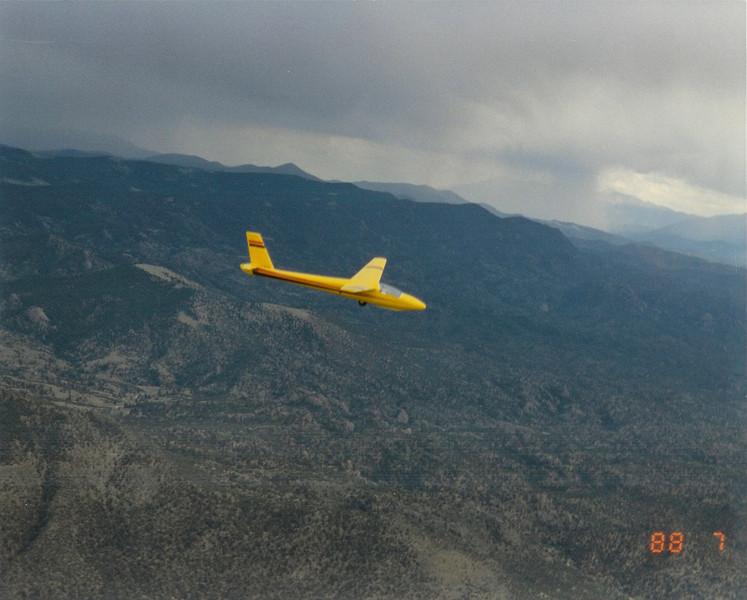 Bill Prescott Sr. in his Schweitzer 1-34 flying over the foothills west of Boulder, CO.