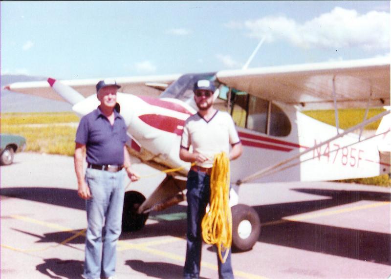 Tow pilots - Bill Prescott Sr. and Bill Prescott Jr. in front of Soaring Society's tow plane - N4785F.