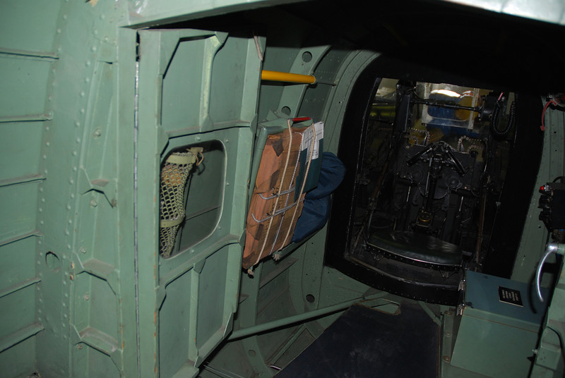 aft gunner parachute ( the gunner had to hook up the chute in case of emergency )<br /> They did not leave the airplane by turning the turret. but had to crawl out to the main door.