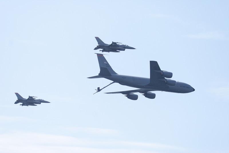 KC-135 Stratotanker and F-16 x2