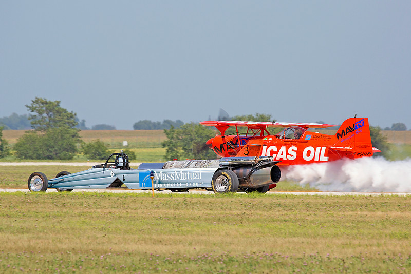 Mike Wiskus in the Lucas Oil Pitts Special and Bill Braack Smoke-N-Thunder Jet Car at Thunder in the Valley II