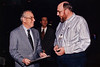 Twenty six years later (February 25, 1996).  Apollo 13 Commander James Lovell and Gene share a few moments at the Photo Marketing Association convention in Las Vegas.  Photo by Bill Fitz-Patrick