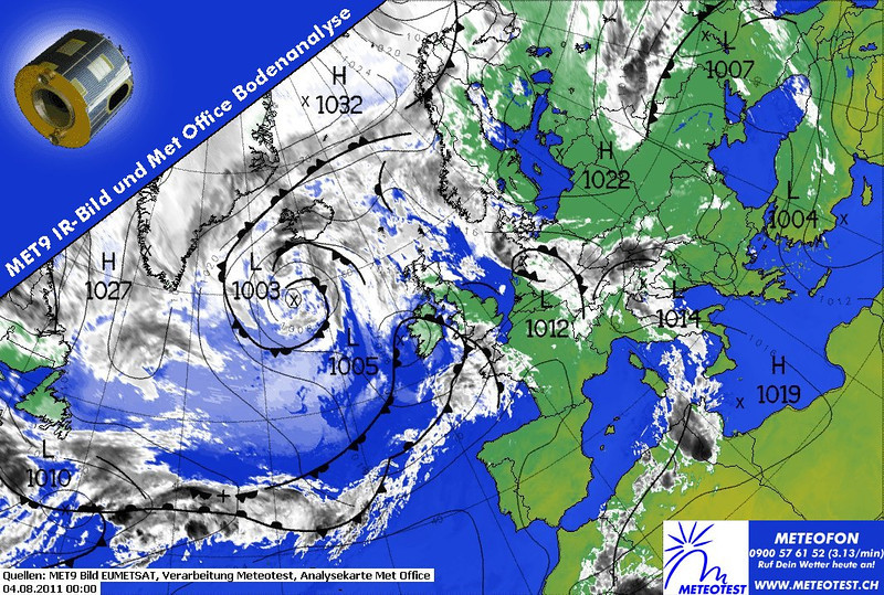 Useful overlay of EUMETSAT of 0000 UTC for 4th of august. <br /> A coldfront with heavy rainshowers and low visibility crossed Belgium during August the 3rd. As a result the departure was canceled.<br /> While it rained outside, many hours were spent watching weather charts<br /> <br /> Overnight the sky cleared, however a new front is invading our first stop near Le Mans cancelled a new departure on the 4rd.<br /> As you can see, the warmfront has already reached Bretagne and brings low clouds and unfavorable flying weather.