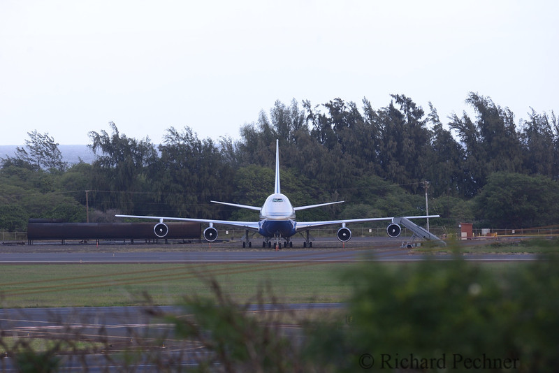 Tucked away on the outer edge of the airport sits the Las Vegas Sands Corporation's 747-21.