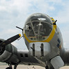 """The nose of the B-17G. The nose """"cone"""" was entirely made of plexiglass. The G-model B-17 was the only model to have the dual-gun """"chin turret"""" installation. It added additional protection from frontal attack. The other 2 machine guns sticking out the nose were fired by the bombardier (before and after bomb drop) and the navigator throughout entire time in enemy territory."""