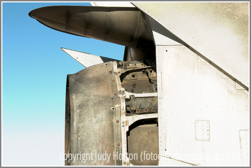 The back end of a vintage aircraft