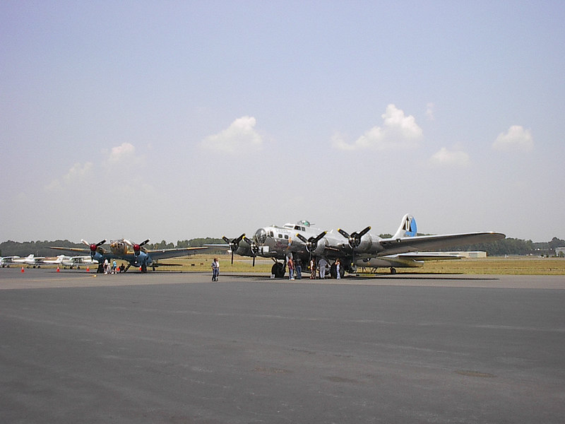 A B-17 Flying Fortress, and an old HE-111 Blitz Bomber