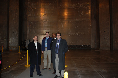 At the opening of the fantabulous 122' tall thermo-vacuum chamber. They close the giant doors and suck all the air out. Hot and cold running testing.