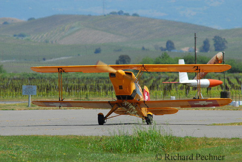 Fred Heorner landing his Bucker Jungmann at Sonoma Valley Airport