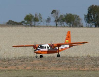 Tony Small's Islander powered by twin Saito 100's. Big model flew very scale like.