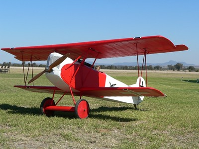 """JK's Fokker D.VII 88"""" span and powered by a Quadra 52cc.from Gary Small plans"""