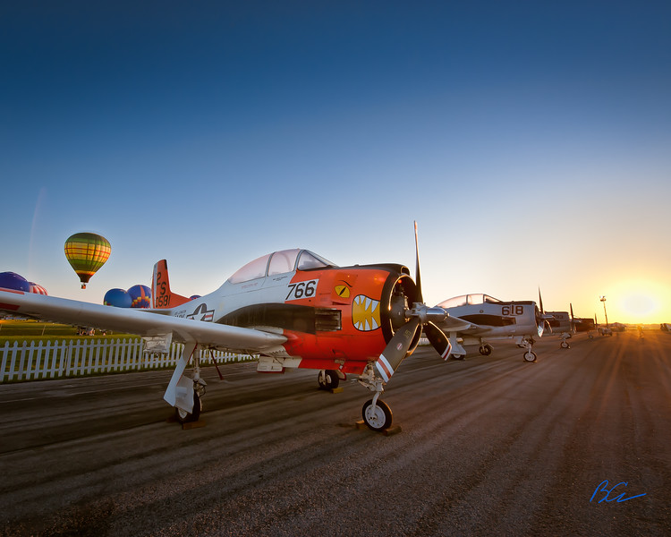 Navy T-28 Trojan<br /> <br /> Spectacular Sun Rise over the fightline at Sun N Fun