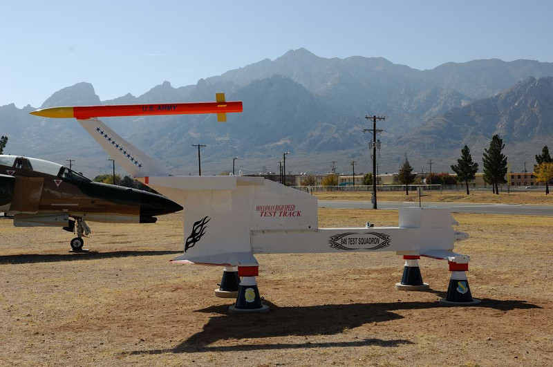 High speed test track sled .    White Sands Missile Museum