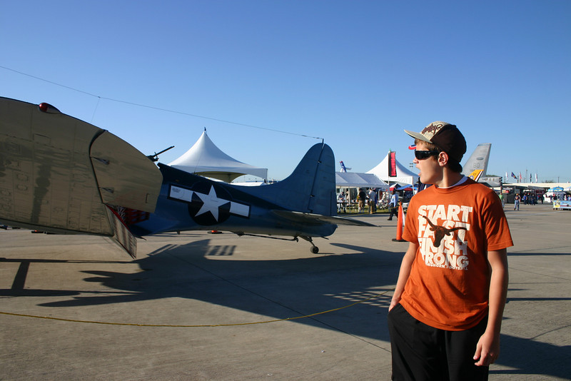 Believe it or not but Sean is actually standing behind Brendan also gawking at the warbird.