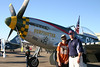 "Brendan and Sean pose in front of the P-51D Mustang, ""Gunfighter,"" a member of the Commemorative Airforce (CAF) used in Tora! Tora! Tora!"