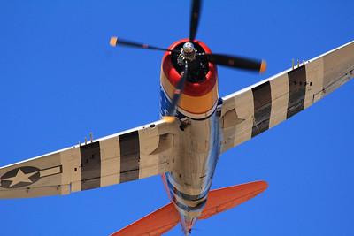 "P-47 Thunderbolt, nicknamed the ""jug"" due to its shape."