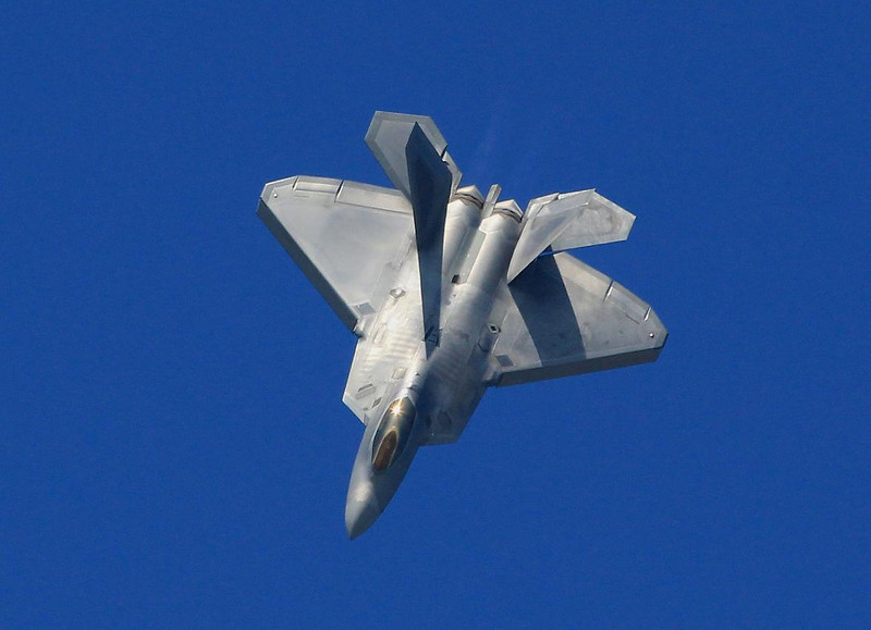 This F-22 Raptor was a beautiful aircraft to watch fly-almost spooky in its smoothness and very quiet unless you were behind it. Its radar transmitter uses a secret design that does not broadcast the aircraft's position like other onboard radar systems in use today.