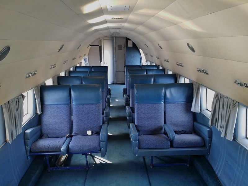 DC-3 cabin. As you can see this was the luxury standard of air travel in those days.