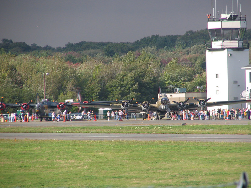 Wings of Freedom at Beverly Airport. Consolidated B-24J Liberator and Boeing B-17G Flying Fortress