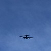 Boeing B-17G Flying Fortress bomber flying over my son's soccer game.
