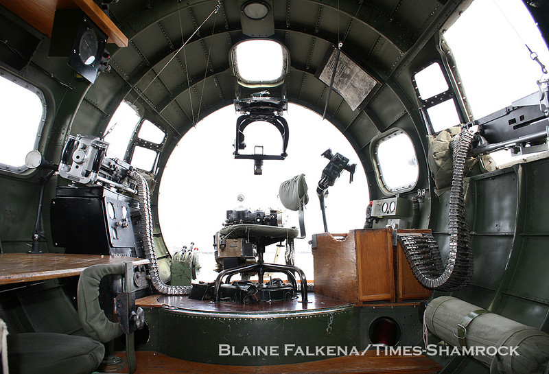 BLAINE FALKENA/Staff Photographer<br /> The bombadier station is flanked on both sides by machine guns in the B-17 Flying Fortress.