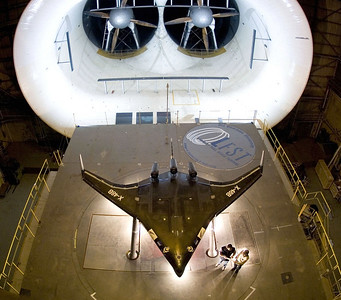 A prototype of the X-48B has been installed at the full scale wind tunnel at NASA's research center at Langley Air Force Base, Va. The Air Force Research Laboratory partnered with Boeing Phantom Works and the National Aeronautics and Space Administration to study the advanced aircraft concept. (Boeing photo/Bob Ferguson)