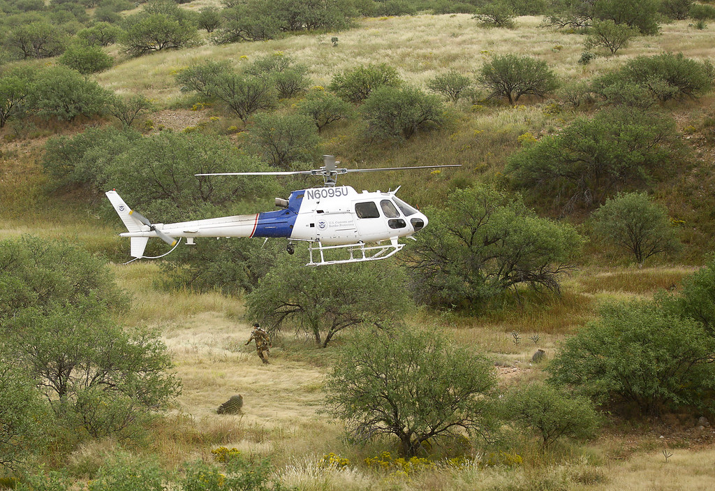 OMAHA 95U, FA1-07X patrol aircraft pursues an absconding illegal immigrant near Sasabe, Arizona.<br /> <br /> 10/6/2014<br /> Tucson Aviation Operations<br /> UH-60L 24558<br /> OMAHA 558<br /> Operation SOUTHERN HARRIER<br /> By John E. Cottrell, AIA