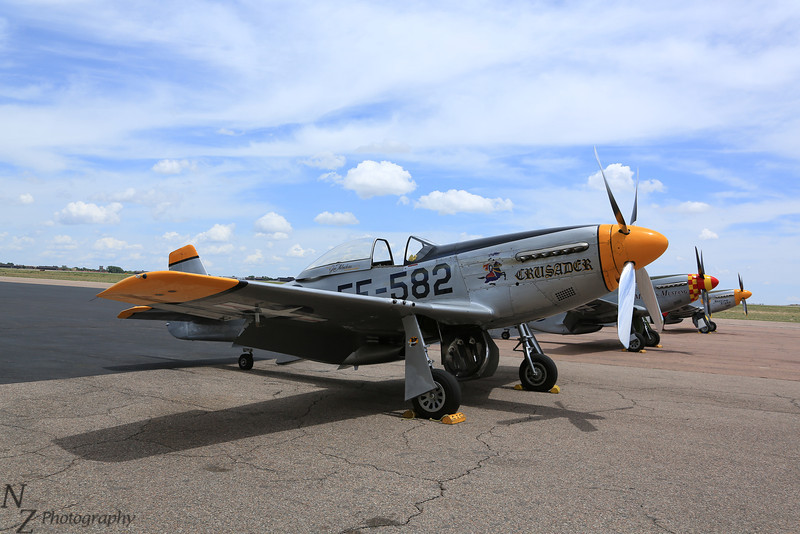 P-51 Mustang, Crusader and 2 others laying over at the Colorado Springs Airport
