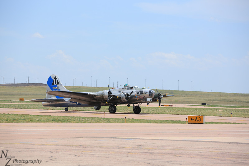 B-17 Sentimental Journey taxis at the Colorado Springs Airport