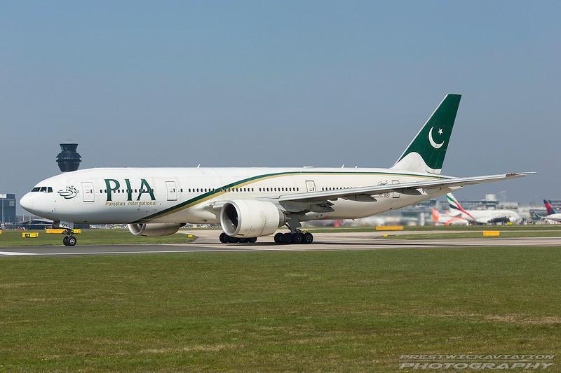 AP-BGY. Boeing 777-240(LR). PIA. Manchester. 080417.