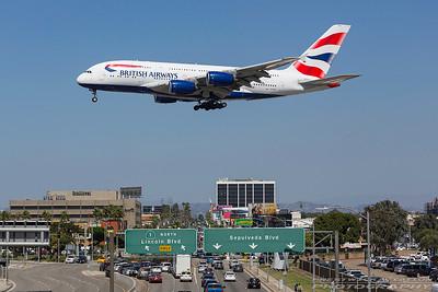 G-XLEK. Airbus A380-841. British Airways. Los Angeles. 230917.
