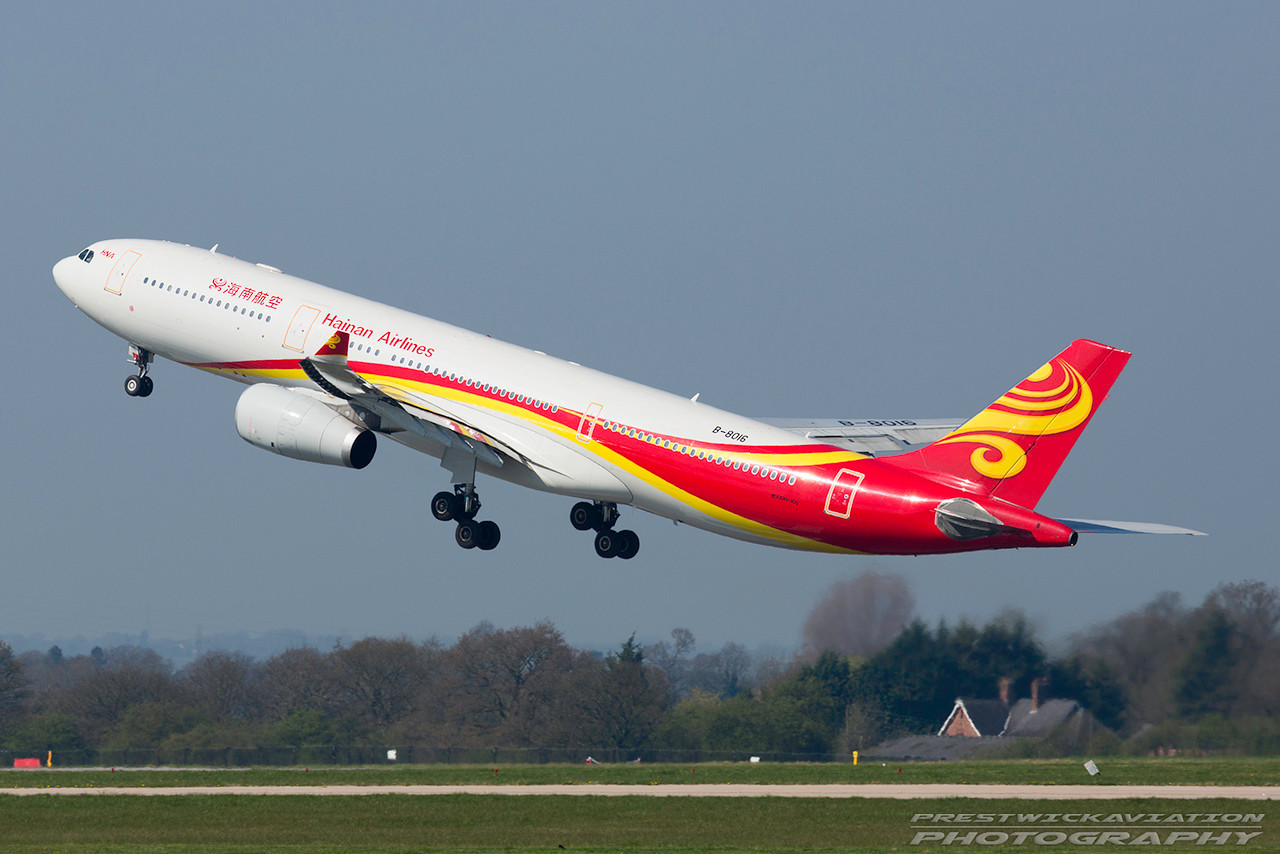 B-8016. Airbus A330-343. Hainan Airlines. Manchester. 080417.