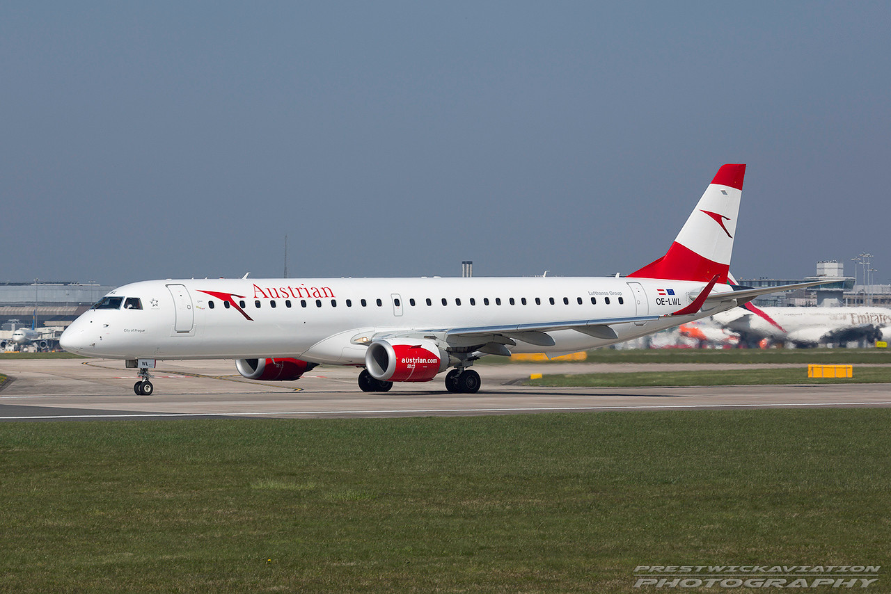 OE-LWL. Embraer ERJ-195. Austrian Airlines. Manchester. 080417.