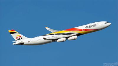 OO-ABA. Airbus A340-313. Air Belgium. Heathrow. 101018.