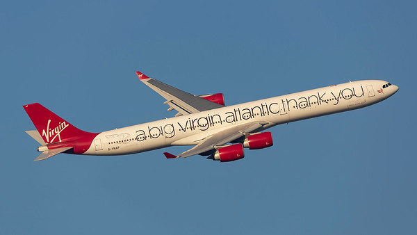 G-VNAP. Airbus A340-642. Virgin Atlantic. Heathrow. 240219.