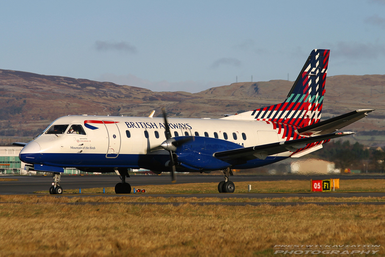 G-LGNA. Saab 340B. British Airways(Loganair). Glasgow. 300103.