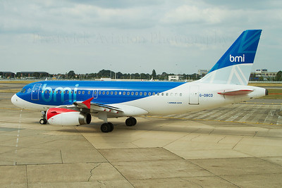 G-DBCB. Airbus A319-131. BMI. Heathrow. 150810.