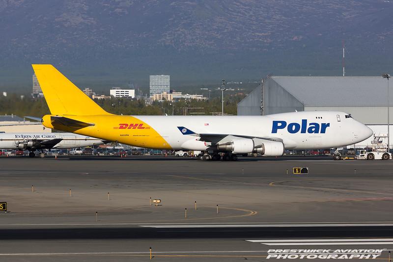 N452PA. Boeing 747-46NF/SCD. Polar Air Cargo(DHL). Anchorage. 070516.