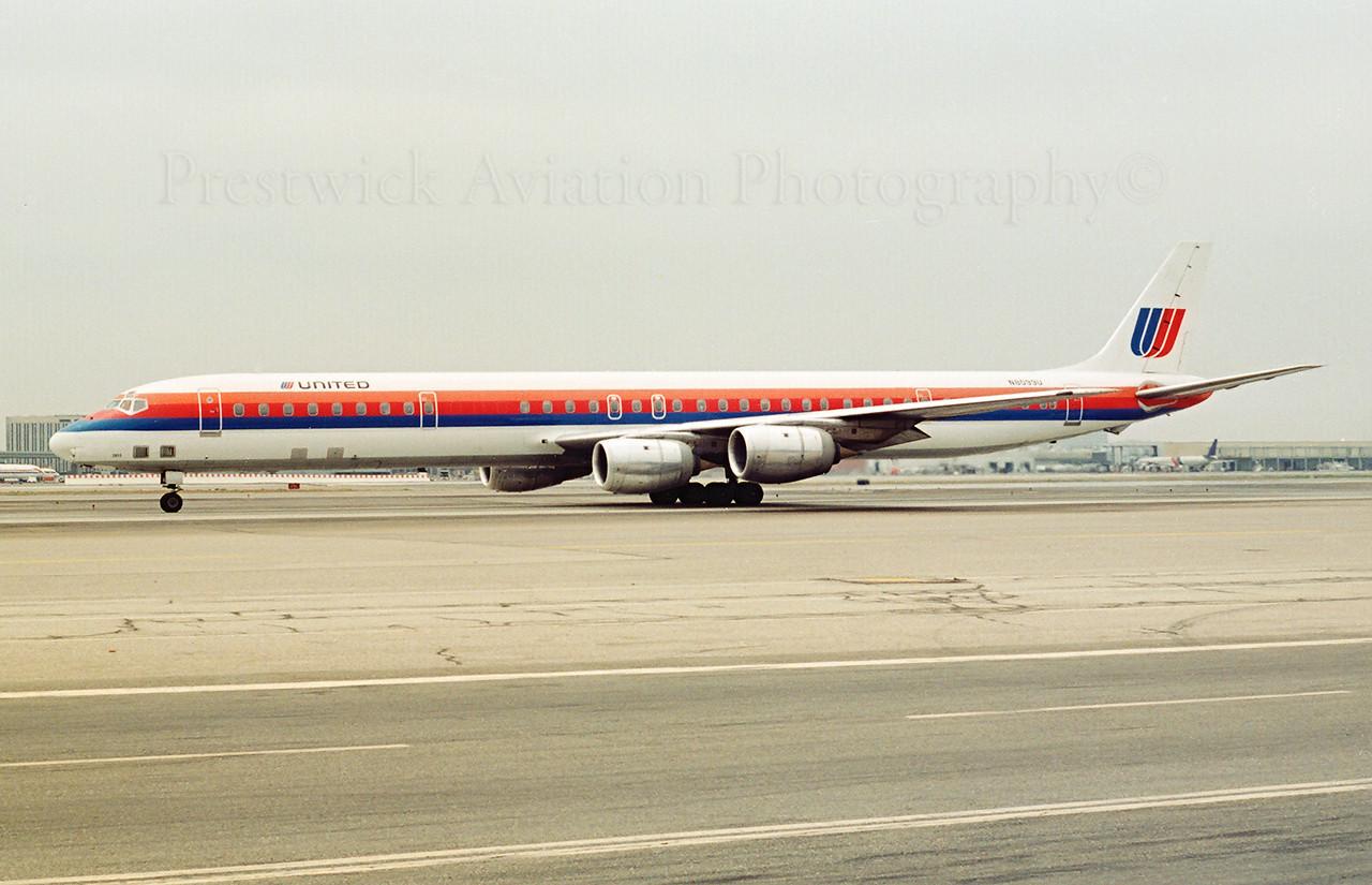 N8099U. McDonnell Douglas DC-8-71. United. Los Angeles. 1990`s.<br /> <br /> Negative scan.