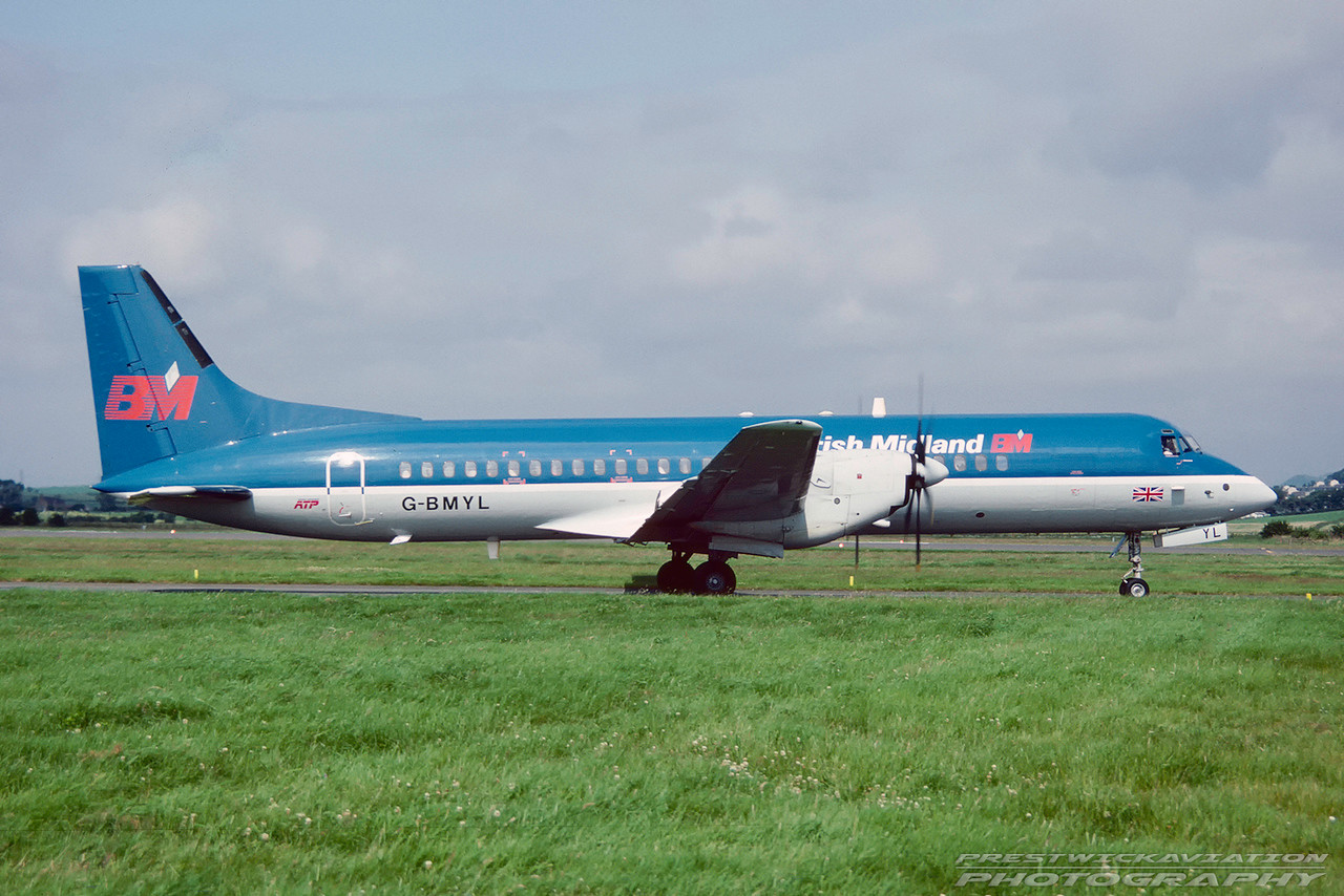 G-BMYL. British Aerospace ATP. British Midland. Glasgow. August. 1991.