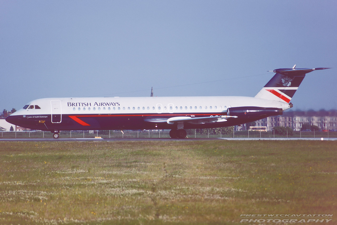 G-BJRT. BAC 111-528FL One Eleven. British Airways. Glasgow. May. 1991.